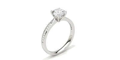 Round Side Stone Diamond Ring