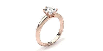 Rose Gold Six-Prong Setting Plain Ring