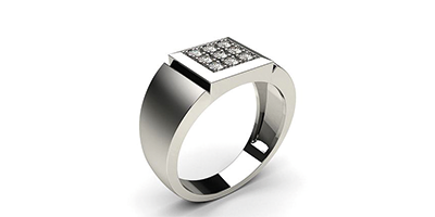 Pave Setting Diamond Ring In 18k White Gold