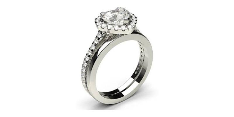 Halo White Gold Bridal Set