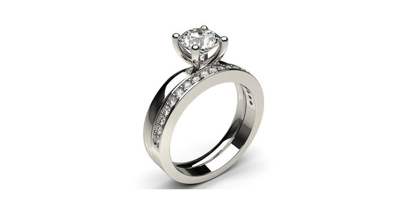 Solitaire White Gold Bridal Set
