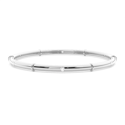 Flush Setting Round Diamond Bangle