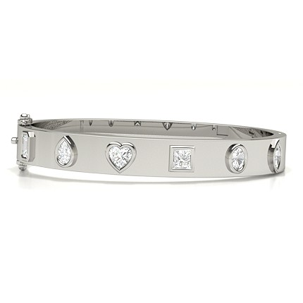 Flush Setting Multi Shape Diamond Bangle
