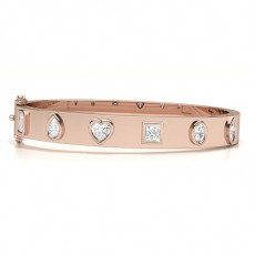 Mixed Shapes Rose Gold Bangles Bracelets