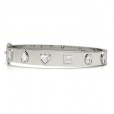 Mixed Shapes Platinum Bangles Bracelets
