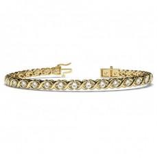 Round Yellow Gold Evening Bracelets