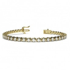 Round Yellow Gold Tennis Bracelets