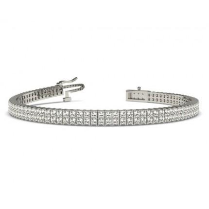 Two Row Prong Set Diamond Tennis Bracelet
