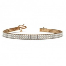 Princess Rose Gold Multi Row Tennis Bracelets