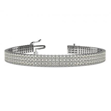 Three Row Prong Set Diamond Tennis Bracelet