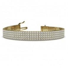 Princess Yellow Gold Multi Row Tennis Bracelets