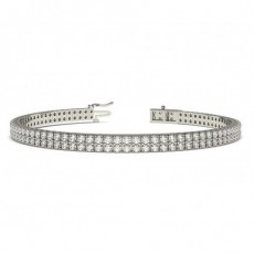 Two Row Pave Setting Round Diamond Tennis Bracelet