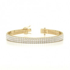 Round Yellow Gold Multi Row Tennis Bracelets