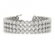 3 Row Bezel Set Tennis Bracelet