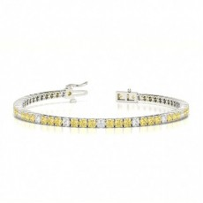 4 Prong Setting Round Yellow Diamond Designer Bracelet