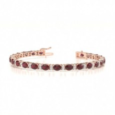 Oval Rose Gold Tennis Bracelet