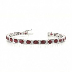 4 Prong Setting Oval Ruby Tennis Bracelet