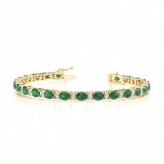 4 Prong Setting Oval Emerald Tennis Bracelet