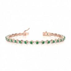 Round Rose Gold Gemstone Bracelets