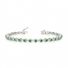 2 Prong Setting Round Emerald Tennis Bracelet