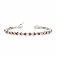 2 Prong Setting Round Ruby Tennis Bracelet