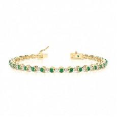 Round Yellow Gold Gemstone Bracelets