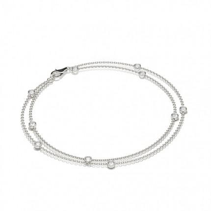 Full Bezel Setting Round Diamond Delicate Bracelet