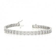 4 Prong Round Diamond Silver Tennis Bracelet