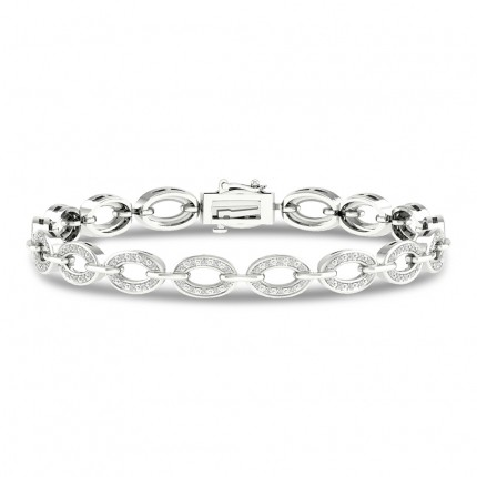 Pave Set Round Diamond Link Bracelet
