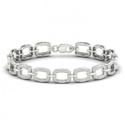 Micro Pave Setting Round Diamond Link Bracelet