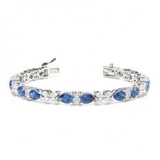 Prong Setting Blue Sapphire Designer Bracelet