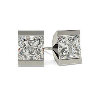 White Gold Princess Diamond Stud Earring