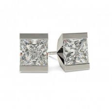 White Gold Princess Diamond Stud Earrings