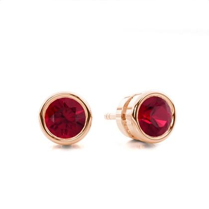 Round Rose Gold Gemstone Earrings