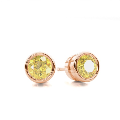 Round Rose Gold Yellow Diamond Earrings