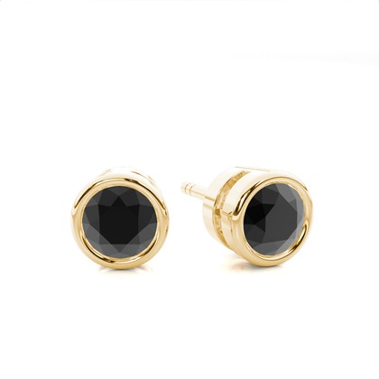 Round Yellow Gold Black Diamond Earrings