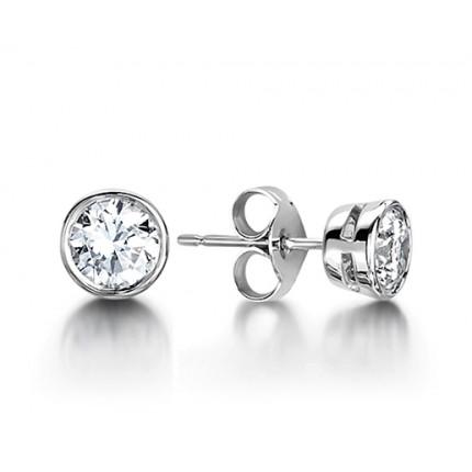4725bd1749ab0 White Gold Round Diamond Stud Earrings