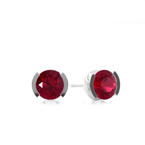 Ruby Stud Round Earring