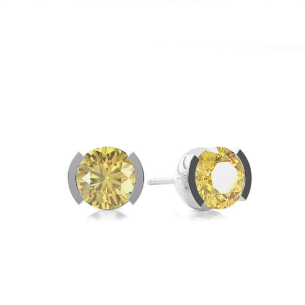 Semi Bezel Yellow Diamond Stud Earring