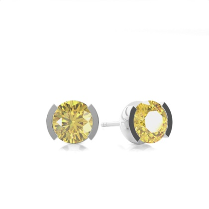 Semi Bezel Yellow Diamond Stud Earring