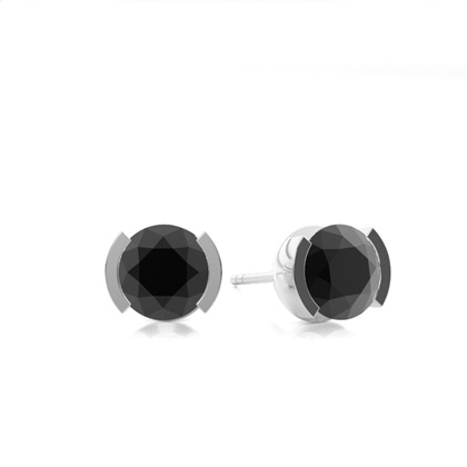 Round Platinum Black Diamond Earrings