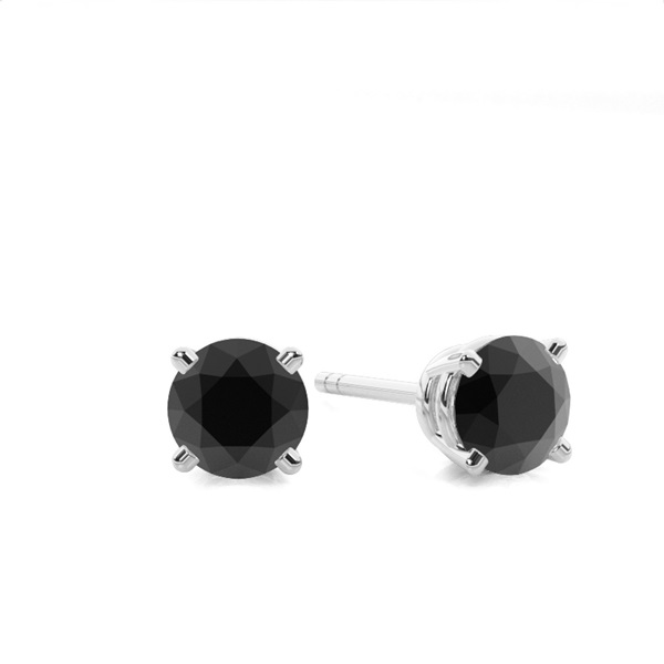 Online Round Black Diamond Earrings Made With White Gold Diamonds Factory Uk