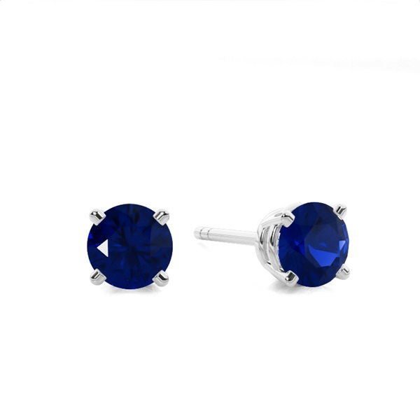 4 Prong Setting Round Blue Sappphire Stud Earring