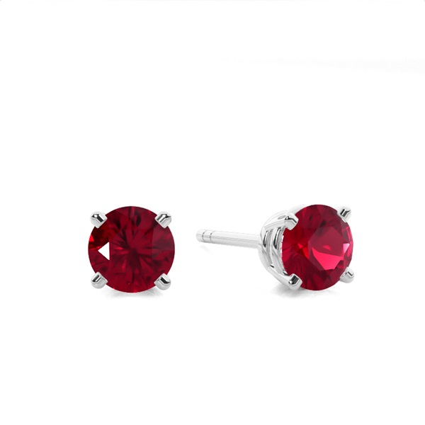 4 Prong Setting Round Ruby Stud Earring