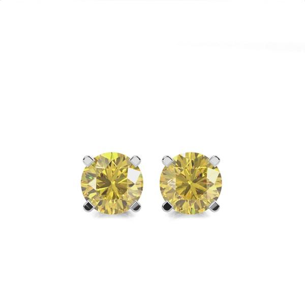 4 Prong  Yellow Diamond Stud Earring