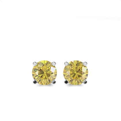 4 Prong  Yellow Diamond Stud Earring