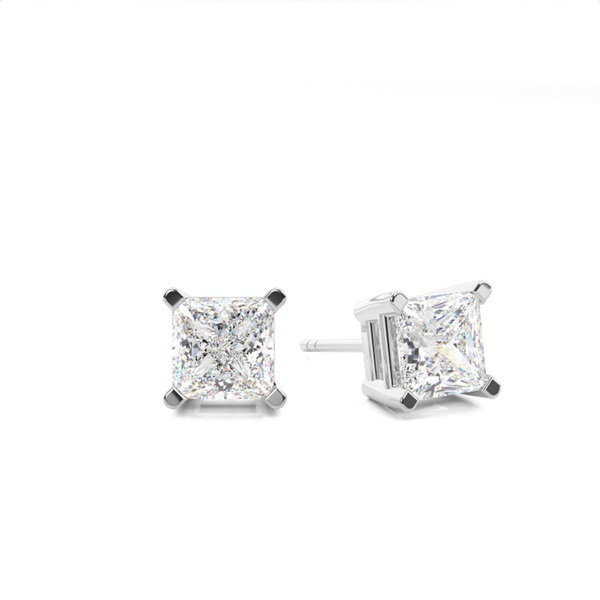 4 G Setting Princess Diamond Stud Earring In Platinum