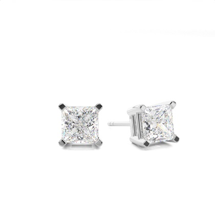 4 Prong Setting Princess Diamond Stud Earring in Platinum