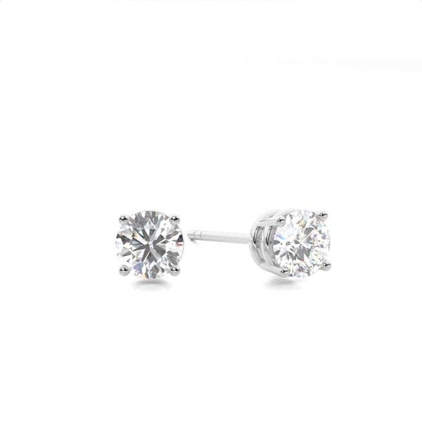 White Gold Round Diamond Stud Earring