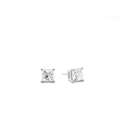 White Gold Princess Diamond Stud Earring